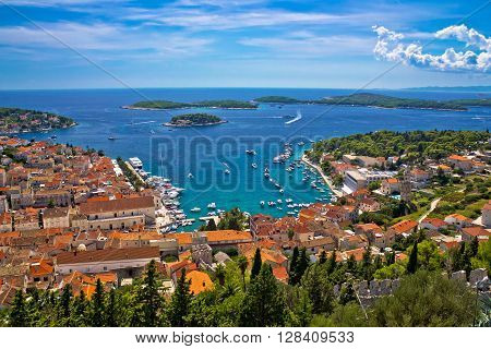 Island of Hvar bay aerial view Dalmatia Croatia