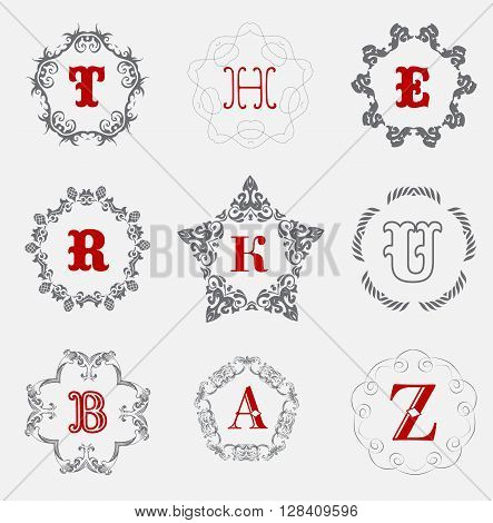 Monogram logo template with  calligraphic elegant ornament. Identity design with H, R, K, U, B, A, Z letter for shop, store or restaurant, heraldic, barbershop or barber, beauty salon, justic lawyer, boutique or hotel