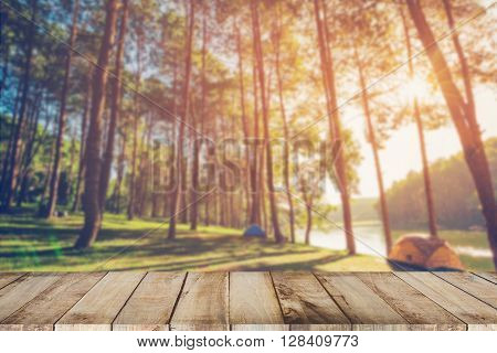 Abstract Blurred Pine Tree And Wood Table With Sunlight Vintage