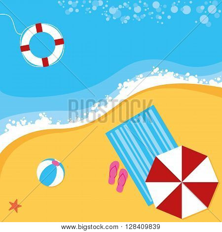 A summer beach scene with sun parasol towel ball and life ring