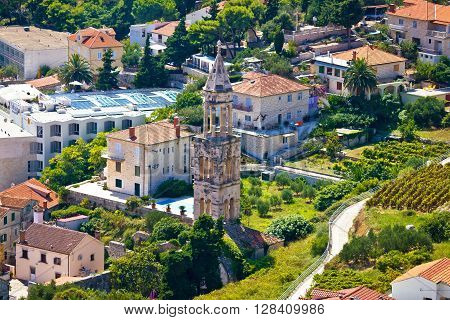Hvar old stone church tower aerial view Dalmatia Croatia