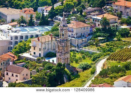 Hvar old stone church tower aerial view Dalmatia Croatia