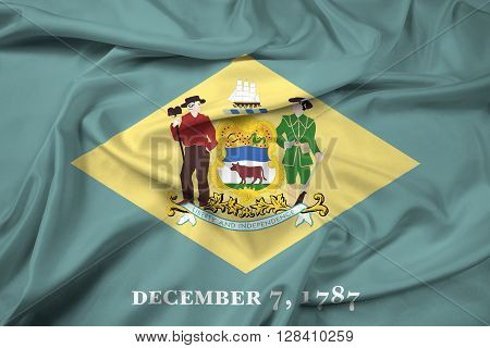 Waving Flag of Delaware State, with beautiful satin background.