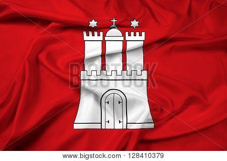 Waving Flag Of Free And Hanseatic City Of Hamburg