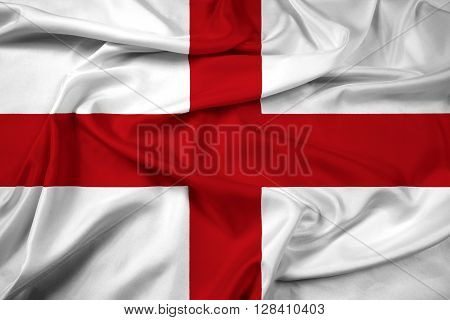 Waving Flag of Genoa, with beautiful satin background.