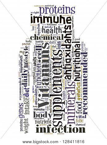Vitamins Bottle, Word Cloud Concept 5