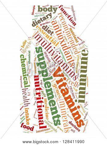 Vitamins Bottle, Word Cloud Concept 8