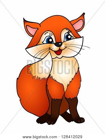 cartoon fox  with isolation on a white background