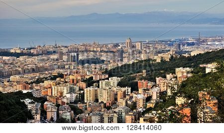 Panoramic view of Genoa seen from the hill of Camaldoli