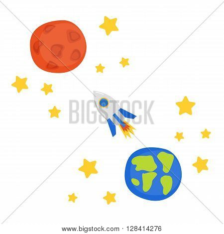 Vector illustration with flight to Mars concept: cartoon rocket stars planet Earth and planet Mars. Great for children book cartoon cover illustration. Vector concept for space future technology