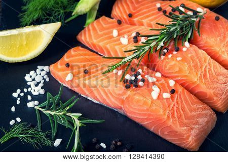 Salmon Filet Sliced On Three Parts  With Lime.