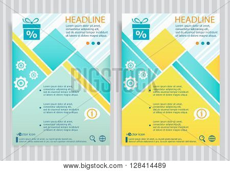 Gift Discount Box Symbol On Vector Brochure Flyer Design Layout Template