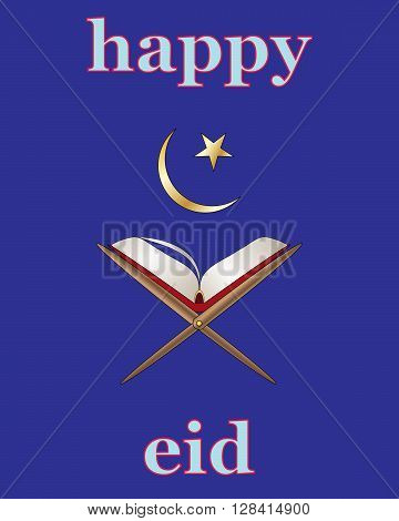 an illustration of an islamic greeting card for the festival of eid with koran and star and crescent moon on a blue background