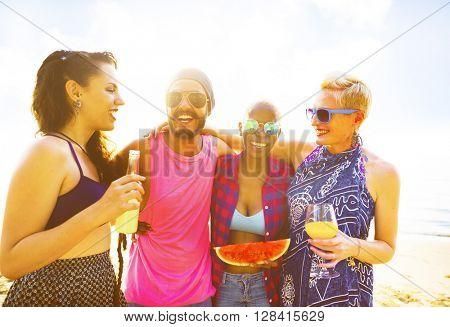 Diverse People Friends Fun Bonding Beach Summer Concept