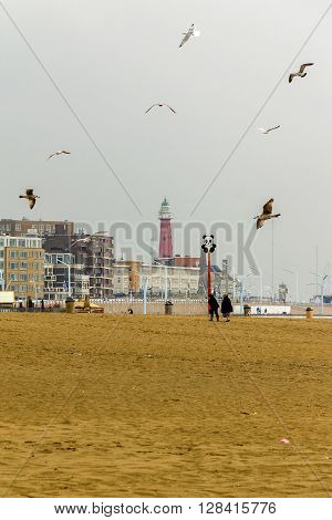 Hague, Netherlands - May 8: It is a beach on the North Sea coast and the lighthouse in Schwenningen May 8, 2013 in Hague, Netherlands.