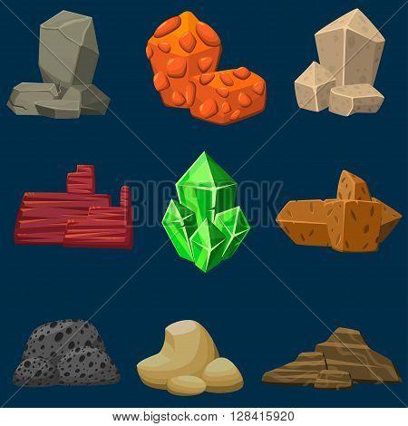 Vector cartoon set of mineral natural stones