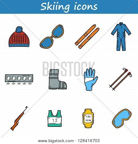 Cartoon hand drawn illustration with skiing equipment. Set of hand drawn skiing icons: ski hat boots glasses skiing rifle. Sport outdoors concept. Winter activity cartoon skiing equipment