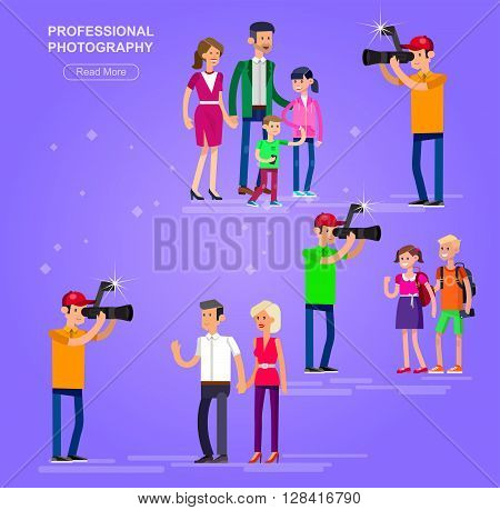 cool detailed character Photographer with camera photographs people students, family