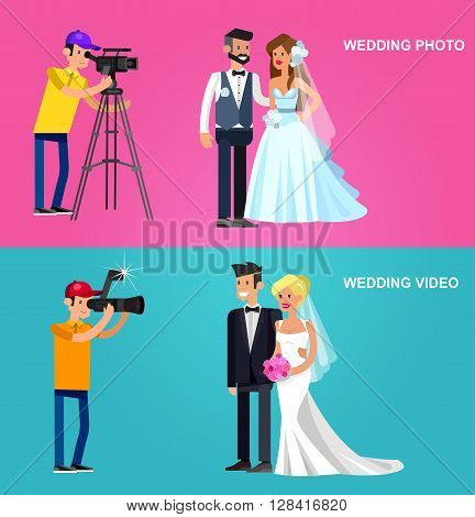 cool detailed character Photographer with camera photographs cute wedding couple . Vector detailed character beautiful  smiling bride and groom