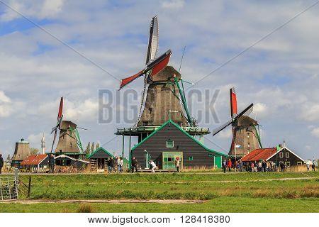 Zaanse-Schans, Netherlands - May 9: This is Dutch Ethnic Museum in North Holland May 9, 2013 in Zaanse-Schans, Netherlands.
