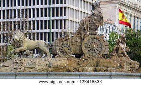Madrid, Spain April14  2016: Madrid Spain. Fountain in Plaza de la Cibeles. Madrid, Spain April14  2016