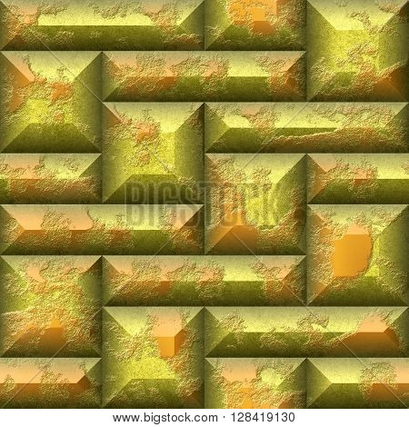 Abstract seamless 3d mosaic pattern of gold and orange beveled squares and rectangles