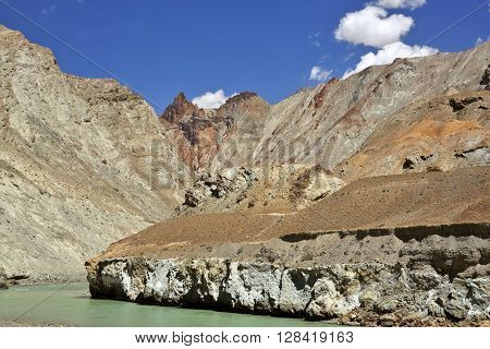 Mountain range in Zanskar, Ladakh province of Jammu & Kasmir, India.