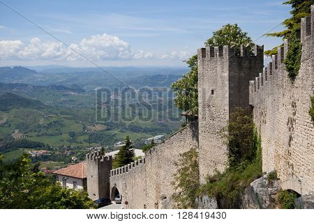 View on San Marino castle wall, Italy