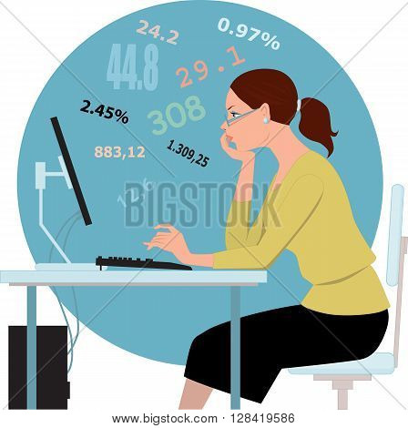 Doing taxes, crunching numbers EPS 8 vector illustration