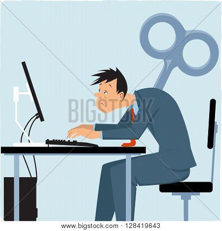 Wind-up overworked employee EPS 8 vector illustration