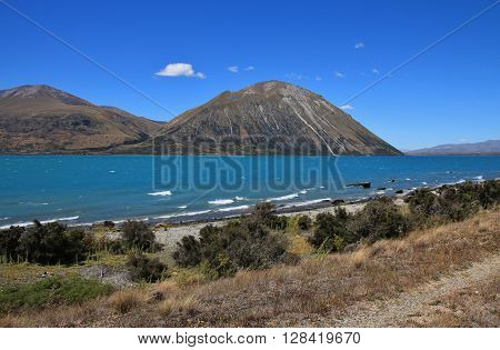 Lake Ohau and Ben Ohau Range New Zealand.