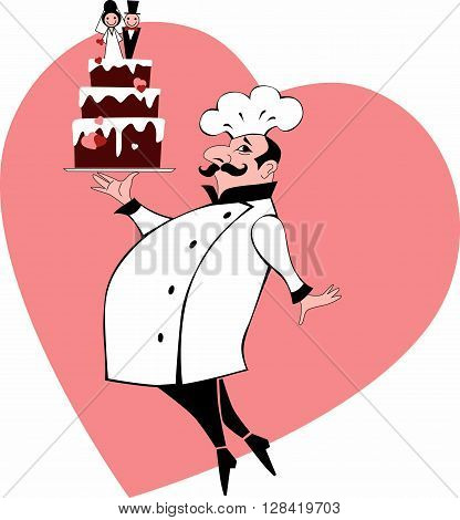 Chef with wedding cake and a heart on the background EPS 8 vector illustration