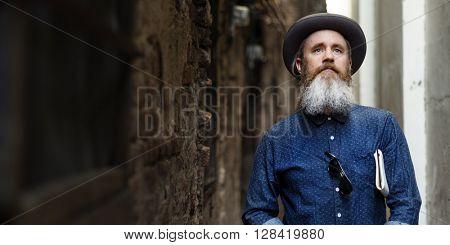 Senior Man Commuter Trip Walking Street Traveling Concept