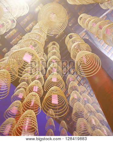 Incense coils burning in a Chinese temple.