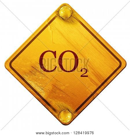 CO2 warning sign, 3D rendering, isolated grunge yellow road sign