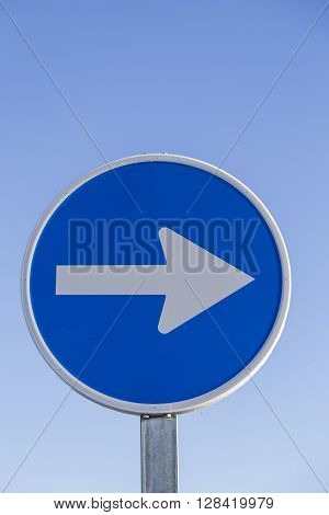 Information traffic sign round blue and white