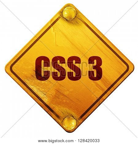 css 3, 3D rendering, isolated grunge yellow road sign