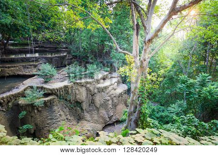 Huay maekamin waterfall, located in srinakarindhra national park of Kanchanaburi Thailand.