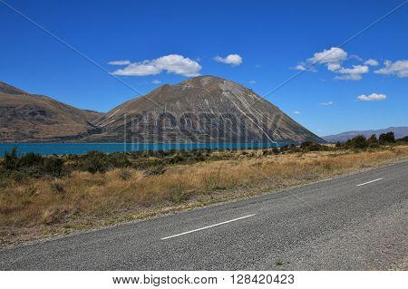 Ben Ohau Range. Landscape in New Zealand. Travel background.