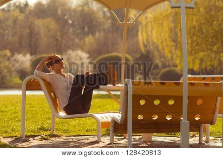 Girl On The Bench In The Park