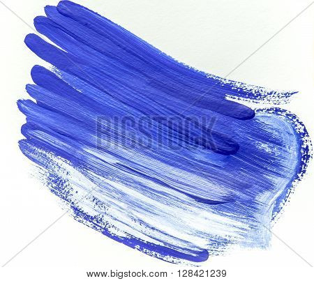 Blue abstract background of brushstrokes. Acrylic background