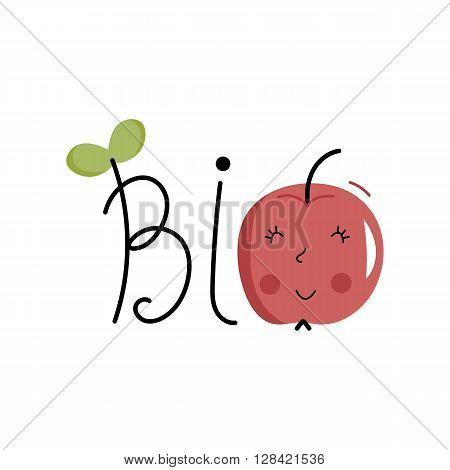 Bio icon. Cartoon organic icon. Bio food label. Natural product icon. Food icon. Organic tag. Bio label. Vegetarian restaurant menu logo. Organic icon. Ecology icon. Cartoon bio sign. Funny bio icon