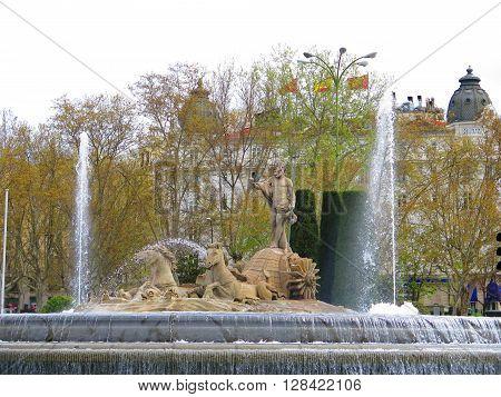 The Fountain of Neptune in the Plaza Canovas de Castillo Madrid Spain