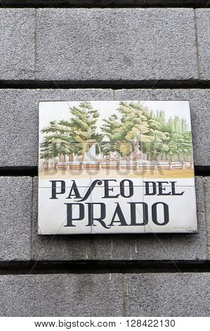 Madrid Spain - April 11 2016: Ornate tiled street sign Madrid Spain. Madrid Spain - April 11 2016