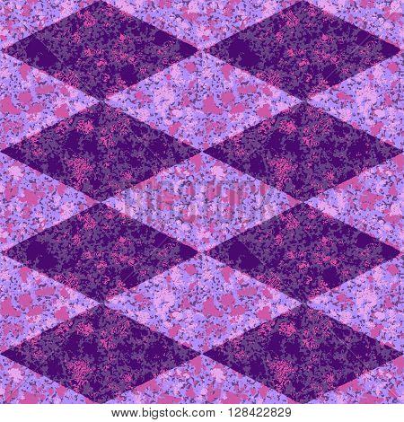 Abstract seamless pink, purple and blue diamond grunge mottled pattern
