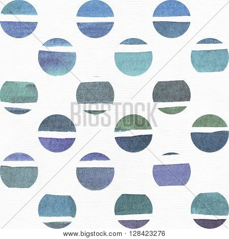 Blue and purple illustration cool and branding freehand texture based on watercolor gradient stripes in little circles and white watercolor background. Large grainy bright with imperfections for your presentation