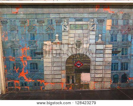Madrid Spain - April 11 2016: Mural of Madrid Metro in a Madrid Metro Station. Madrid Spain - April 11 2016