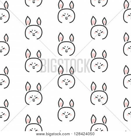 Pig stylized line fun seamless pattern for kids and babies. Cute animal fabric design for textile in simple style.