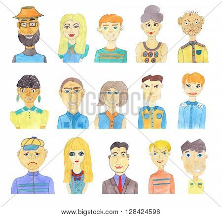 Set of watercolor faces isolated on white background. Set of cartoon characters.