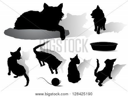 Silhouettes of black cat with five kittens, bowl and ball of yarn